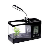 Уникальный подарочный настольный органайзер с LCD часами и аквариумом с подсветкой и компрессором