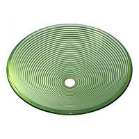 Умывальник оригинальный накладной стеклянный круглый 420 мм (MR 8513)
