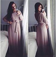 Длинное Платье из трикотажного масла в пол Размеры 40-54