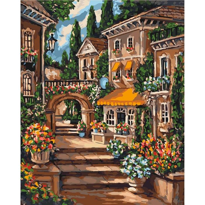 """Картина по номерам. Городской пейзаж """"Цветущий переулок"""" 40*50см KHO3552"""