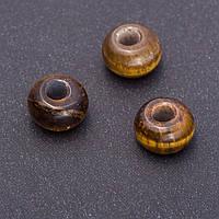 Бусина Пандора Тигровый глаз 14х10мм, диаметр отв-я-5мм