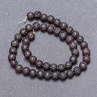 Бусины из натурального камня Лава на нитке, диаметр 8мм, длина 40см