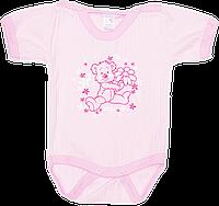 Детский боди-футболка с принтом, кнопки сверху и внизу, хлопок (мультирипп), ТМ МС, р. 62, 68, 74, Украина