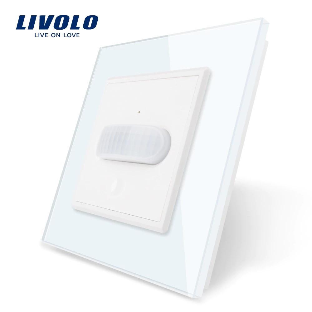 Датчик движения с сенсорным выключателем Livolo белый стекло (VL-C701RG-11)