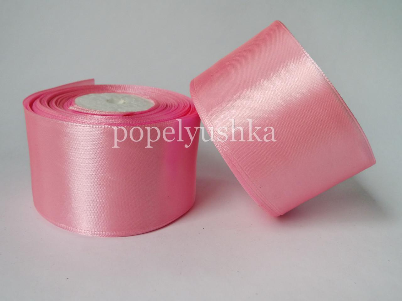 Стрічка атласна 5 см рожева
