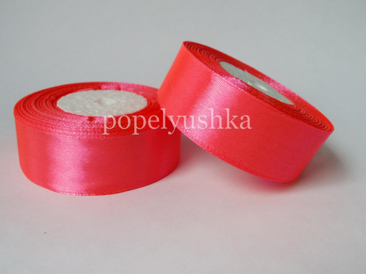 Стрічка атласна 2,5см насичено-рожева