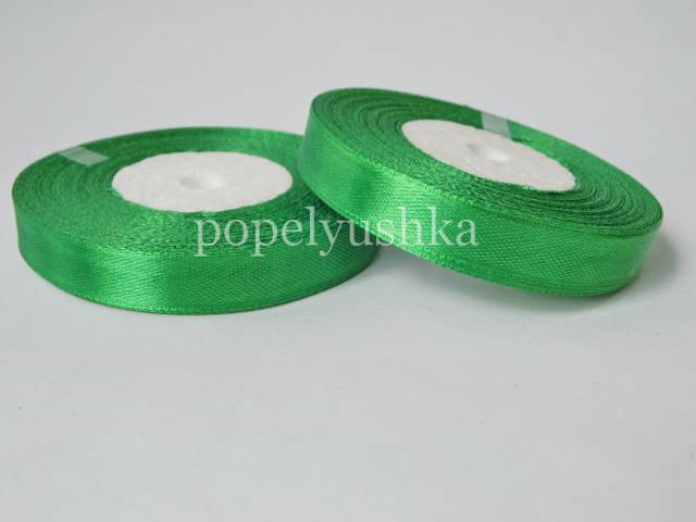 Стрічка атласна 1,2 см зелена