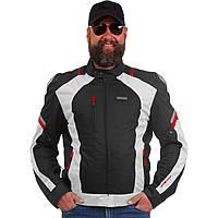 Мотокуртка текстильная с защитой NERVE (светло-серый-красный)
