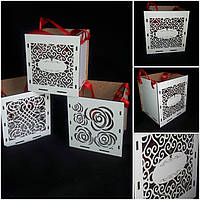 Деревянный ящик с перфорированной стороной, декор, ДВП, 13.5х12.5х15 см., 65/55 (цена за 1 шт. + 10 гр.)