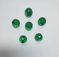Бусина шар граненый зеленые 18 мм