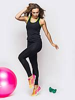 Женский фитнес костюм майка + лосины черного цвета (Топ качество)