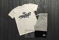Мужской комплект футболка + шорты Adidas белого, серого и черного цвета (Топ качество)