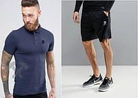 Мужской комплект поло + шорты Adidas синего и черного цвета (Топ качество)