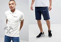 Мужской комплект поло + шорты Champion белого и синего цвета (Топ качество)