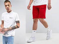 Футболка поло с шортами, Мужской комплект поло и шорты Champion белый и красный
