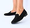 Туфли лоферы женские замшевые черные на низком ходу
