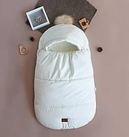 Зимний Конверт-кокон на выписку, молочный, фото 1