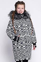 Детская зимняя куртка DT-8291-5 (34, Белый-черный) 34