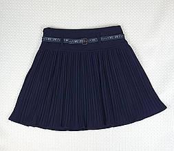Школьная юбка плисе для девочки Турция р. 6-12 лет и.синяя