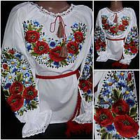 """Детская блуза с вышивкой """"Ромашковое настроение"""", поплин, 98-146 см., 280/240 (цена за 1 шт. + 40 гр.)"""