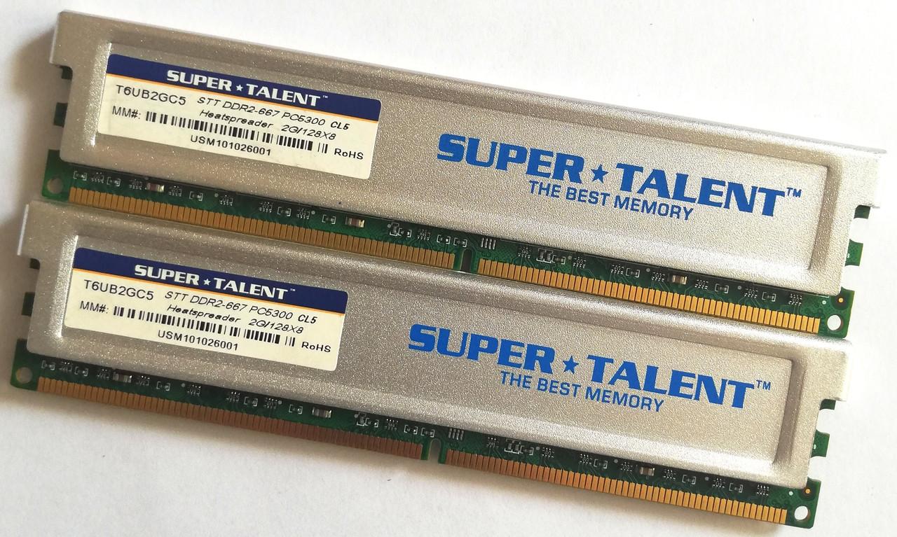 Пара оперативной памяти Super Talent DDR2 4Gb (2Gb+2Gb) 667MHz PC2 5300U CL5 (T6UB2GC5) Б/У