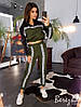 Женский спортивный костюм с укороченным худи на резинке и штанами на манжетах 66SP660E