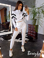 Женский спортивный костюм с брюками на манжетах и укороченным бомбером на резинке 66SP661Q