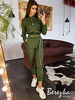 Женский брючный костюм с брюками карго и бомбером на молнии в стиле милитари 66KO1377Q, фото 1