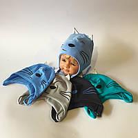 Шапка для мальчика одинарный польский трикотаж на завязке от 6 месяцев до 1 года