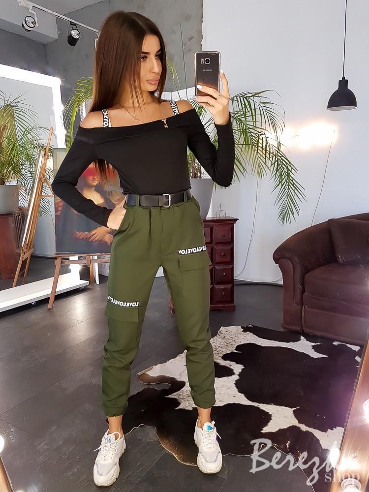 Женский брючный костюм с брюками - карго на манжетах и топом 66ks1374E