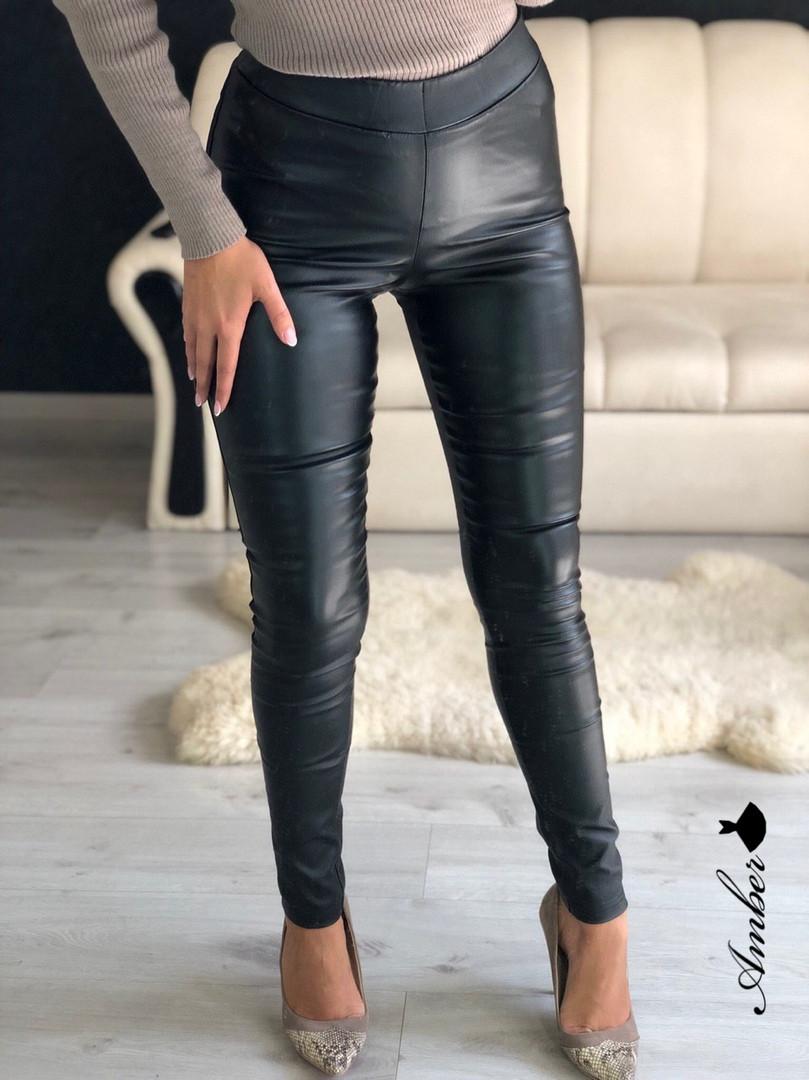 Женские кожаные лосины из экокожи с завышенной талией 8bu361