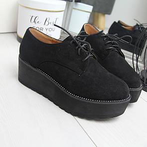 Женские замшевые туфли на высокой подошве и шнуровке 74OB20