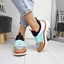 Женские кроссовки без шнуровки с яркими вставками 74OB27, фото 4