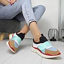Женские кроссовки без шнуровки с яркими вставками 74OB27, фото 5