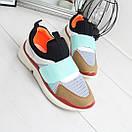 Женские кроссовки без шнуровки с яркими вставками 74OB27, фото 6