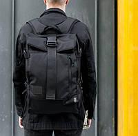 Вместительный мужской рюкзак в уличном стиле для города, ноутбука, путешествий роллтоп WLKR черный на 25 л