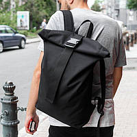 Удобный рюкзак роллтоп мужской mod.HardBro черный на 24 л.