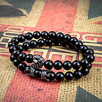 Мужской каменный браслет mod.KING black