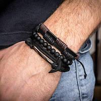 Браслет кожаный мужской mod.OldSaint комплект