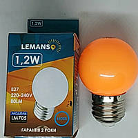 Лампа Lemanso светодиодная G45 E27 1,2W оранжевый  шар