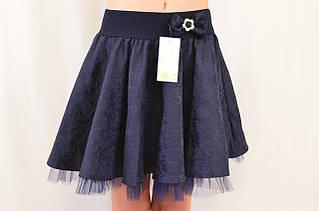 Детская жаккардовая нарядная школьная юбка клеш на девочку