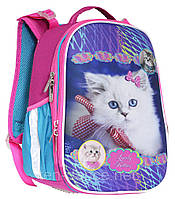 Ранец CLASS Lovely Kitties 35 х 27 х 16 см 14 л для девочек Розовый/Голубой (9956/8591662995602)