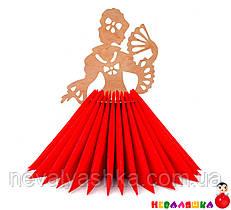Деревянная Салфетница Девушка с Веером в платье из салфеток подставка дерев'яна серветниця из дерева