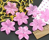 (10 ГРАММ ≈90 шт) Заготовка для цветка, пресс Ø48мм (с атласным блеском) Цвет - розовый, фото 1