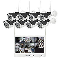 """Комплект видео наблюдения беспроводной DVR KIT Full HD UKC CAD-1308 LCD 13.3"""" WiFi 8ch набор на 8 камер, фото 1"""