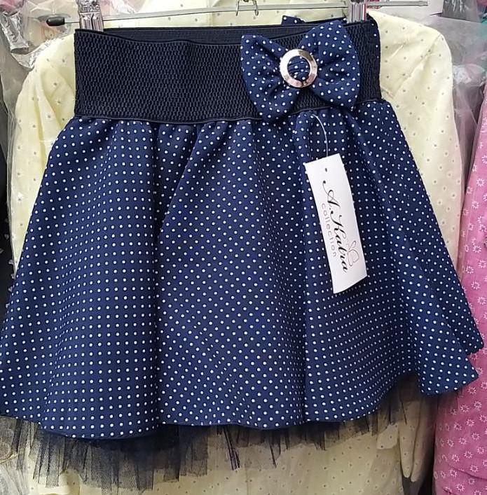 Детская нарядная школьная юбка клеш в горошек на девочку 110-140
