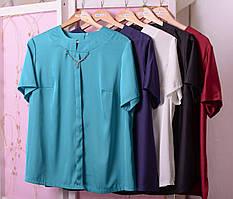 Стильная женская шёлковая блуза в деловом стиле с 48 по 74 размер