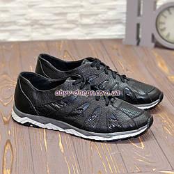 Мужские кожаные дышащие  кроссовки на шнурках, цвет черный