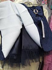 Детская нарядная школьная юбка клеш в горошек на девочку 110-140, фото 2