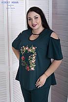Изящная летняя женская блуза свободного кроя с 48 по 82 размер, фото 3